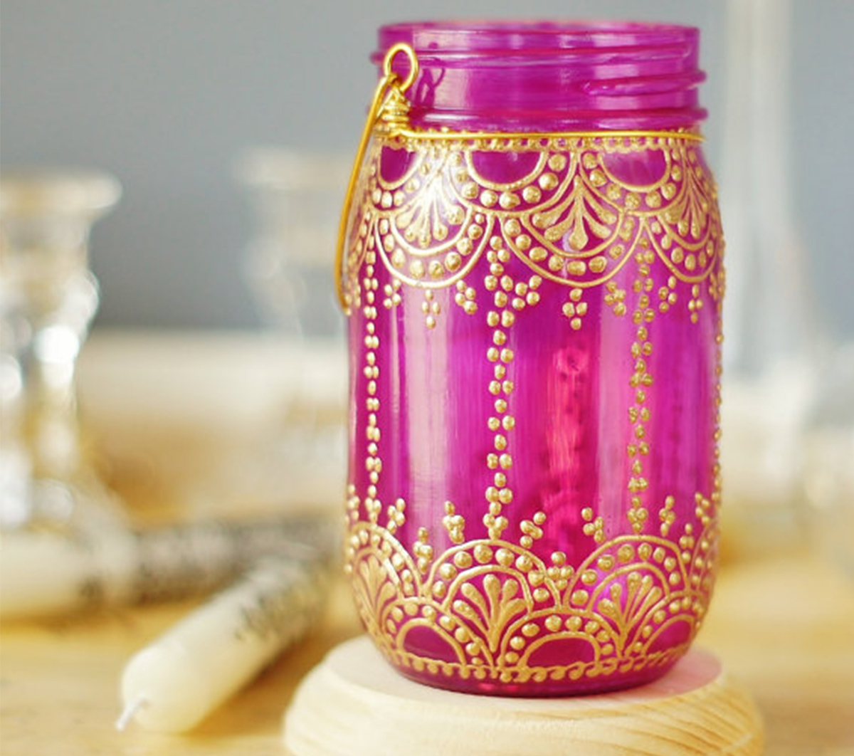 Henna inspired mason jar, moroccan decorated mason jar