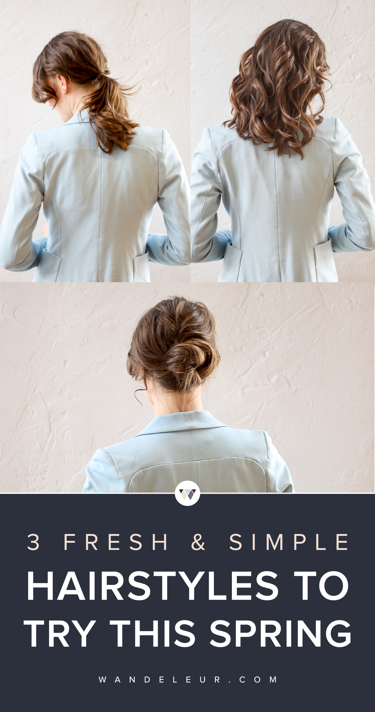 hairstyles for spring, 3 simple hairstyles, wandeleur, easy updo